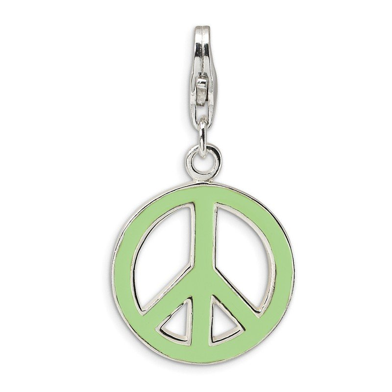 Quality Gold SS RH Green Enameled Peace Symbol w/Lobster Clasp Charm