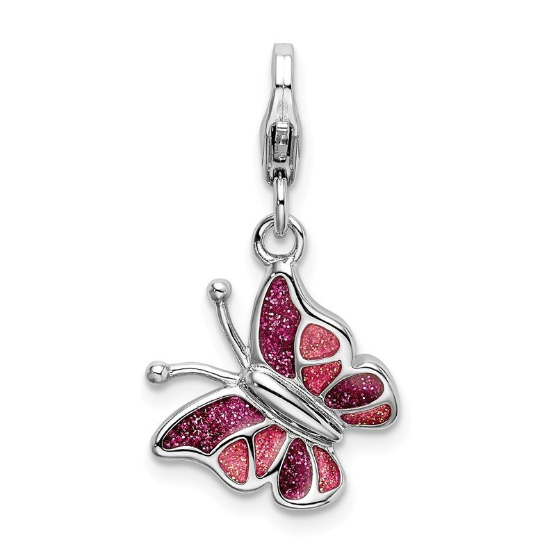 Quality Gold Sterling Silver Pink & White Enameled Butterfly with Lobster Clasp Charm
