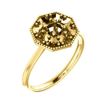 18K Yellow 4.1 mm Round Halo-Style Engagement Ring Mounting