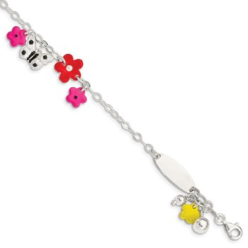 Sterling Silver Adjustable Enameled Baby Charm Bracelet