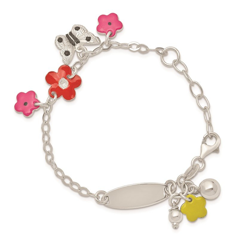 Quality Gold Sterling Silver Adjustable Enameled Childs 5in Plus 1in ext Charm Bracelet