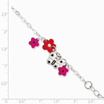 Sterling Silver Adjustable Enameled Childs 5in Plus 1in ext Charm Bracelet