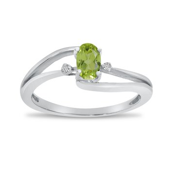 10k White Gold Oval Peridot And Diamond Wave Ring