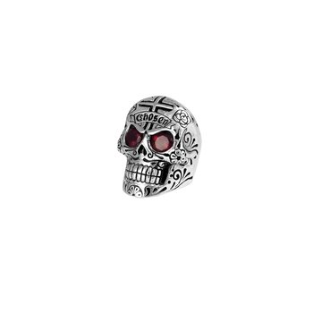Large Skull Ring With Chosen Cross Detail And Garnet Eyes - Size 10
