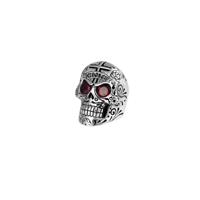 King Baby Large Skull Ring With Chosen Cross Detail And Garnet Eyes - Size 10