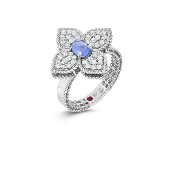 18K Diamond & Tanzanite Flower Ring