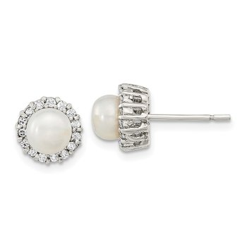 Sterling Silver Rhodium-plated CZ FW Cultured Pearl Post Earrings