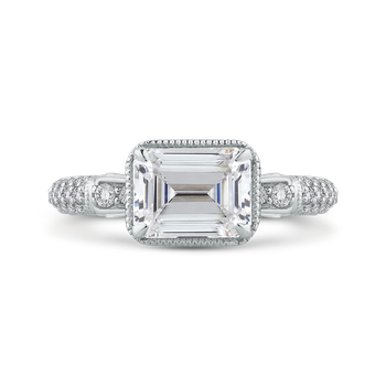 18K White Gold Emerald Cut Diamond Vintage Engagement Ring (Semi-Mount)