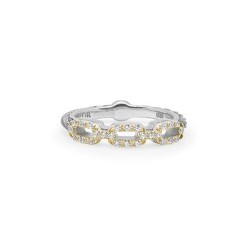 Grey Cable Layered Links Stacking Ring with 18kt Yellow Gold & Diamonds