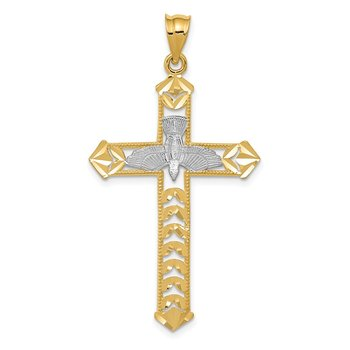 14K W/Rhodium Polished Diamond-Cut Dove Cross Pendant