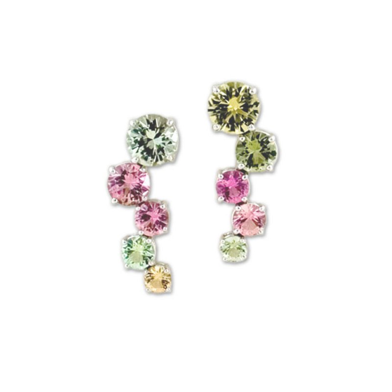 James Breski Pastel Tourmaline Zig Zag Earrings