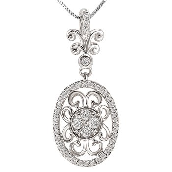 Ladies Fashion Oval Diamond Pendant