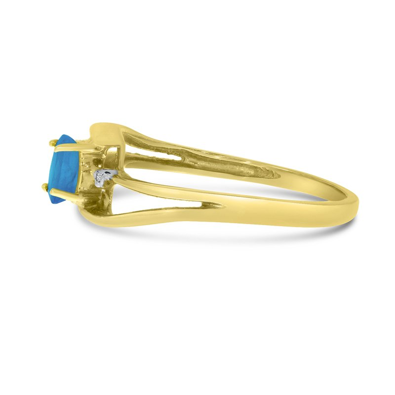 Color Merchants 10k Yellow Gold Oval Blue Topaz And Diamond Wave Ring