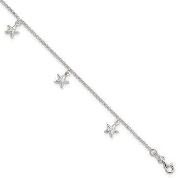 Sterling Silver Starfish Dangles 9 inch Plus 1 inch Ext. Anklet