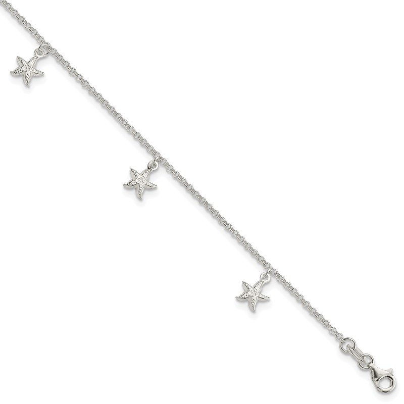 Quality Gold Sterling Silver Starfish Dangles 9 inch Plus 1 inch Ext. Anklet