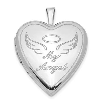 Sterling Silver 21mm Polished My Angel Heart Locket