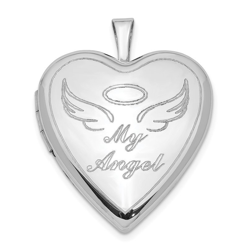 Quality Gold Sterling Silver 21mm Polished My Angel Heart Locket