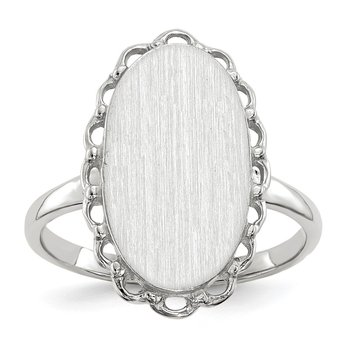 14k White Gold 14x10.5mm Open Back Signet Ring