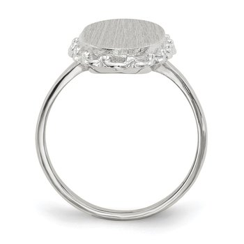 14k White Gold 15.0x9mm Open Back Signet Ring