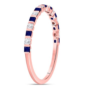 10kt Rose Gold Womens Princess Blue Sapphire Diamond Alternating Stackable Band Ring 3/8 Cttw