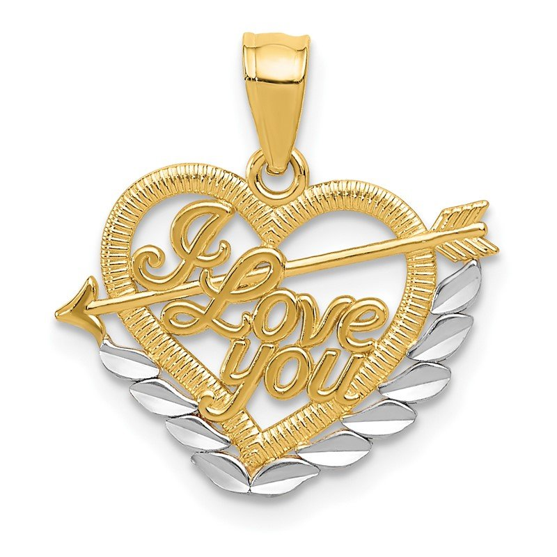 Quality Gold 14k and Rhodium I LOVE YOU Heart Pendant