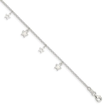 Sterling Silver Polished and Textured Star 9in Plus 1in Ext. Anklet