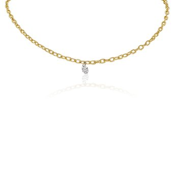 "14K Yellow Gold 0.15 Single Diamond Necklace with 18"" Brushed Chain"