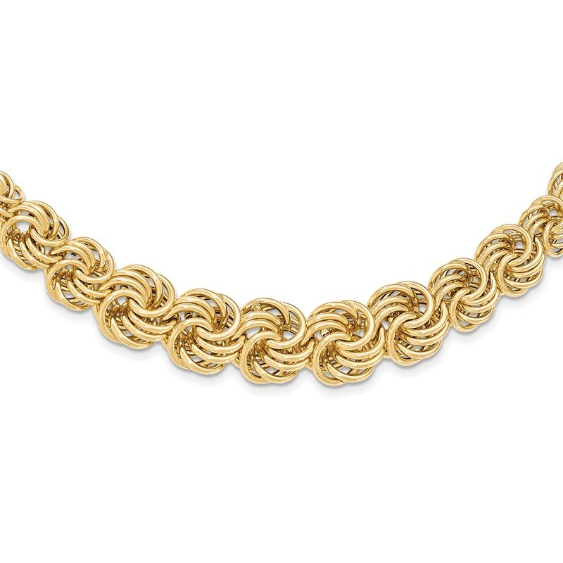 Quality Gold 14k Polished 16in Graduating Circle Fancy Link Necklace