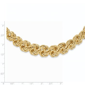 14k Polished 16in Graduating Circle Fancy Link Necklace