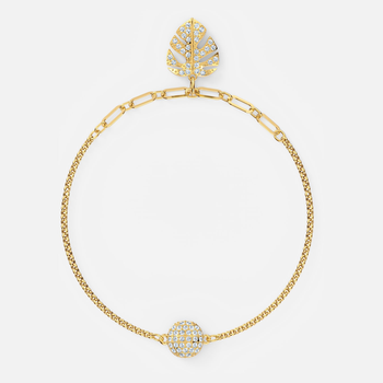 Swarovski Remix Collection Tropical Leaf Strand, White, Gold-tone plated