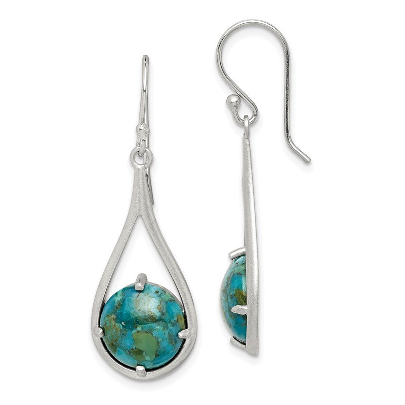 Quality Gold Sterling Silver Rhodium-plated Recon. Turquoise Dangle Earrings