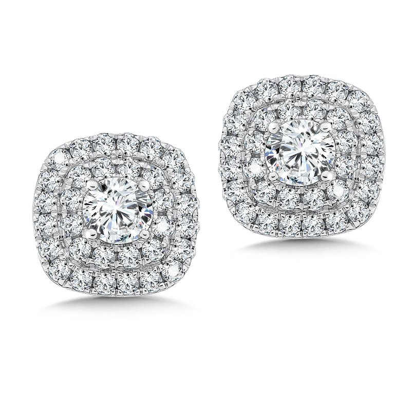 Caro74 Diamond Double Halo Studs in14K White Gold with Platinum Post (1/2ct. tw.)