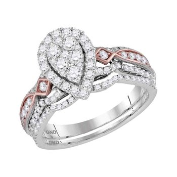 14kt Two-tone White Gold Womens Round Diamond Teardrop Cluster Bridal Wedding Engagement Ring Band Set 1.00 Cttw