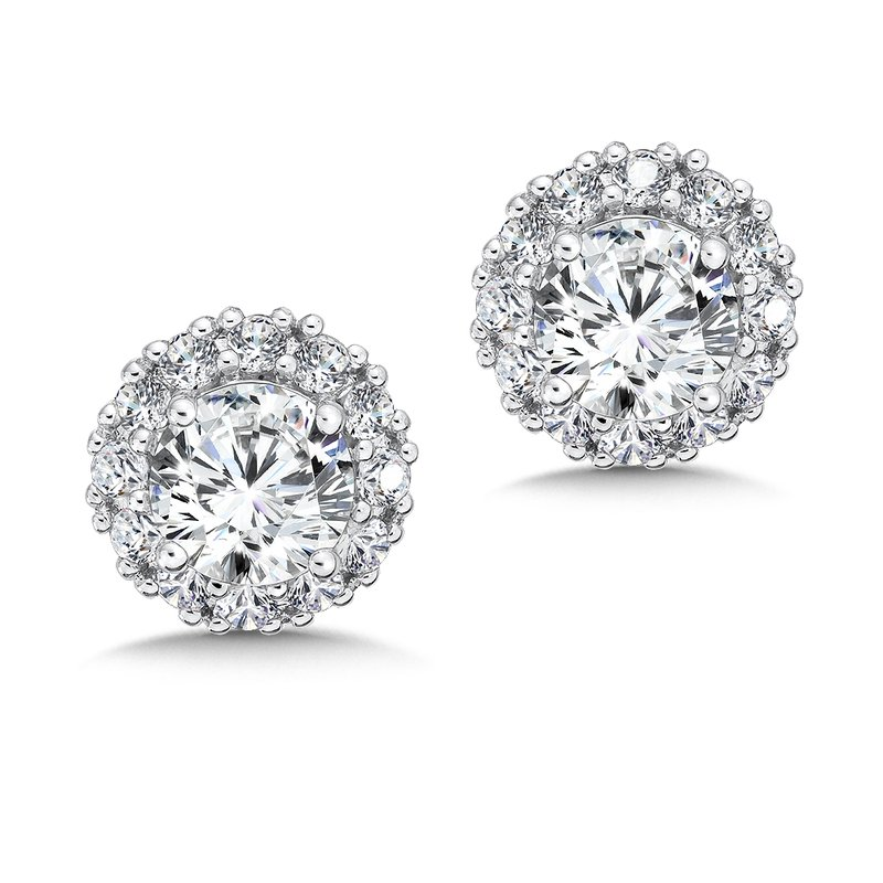 Caro74 Diamond Halo Studs in14K White Gold with Platinum Post (1ct. tw.)