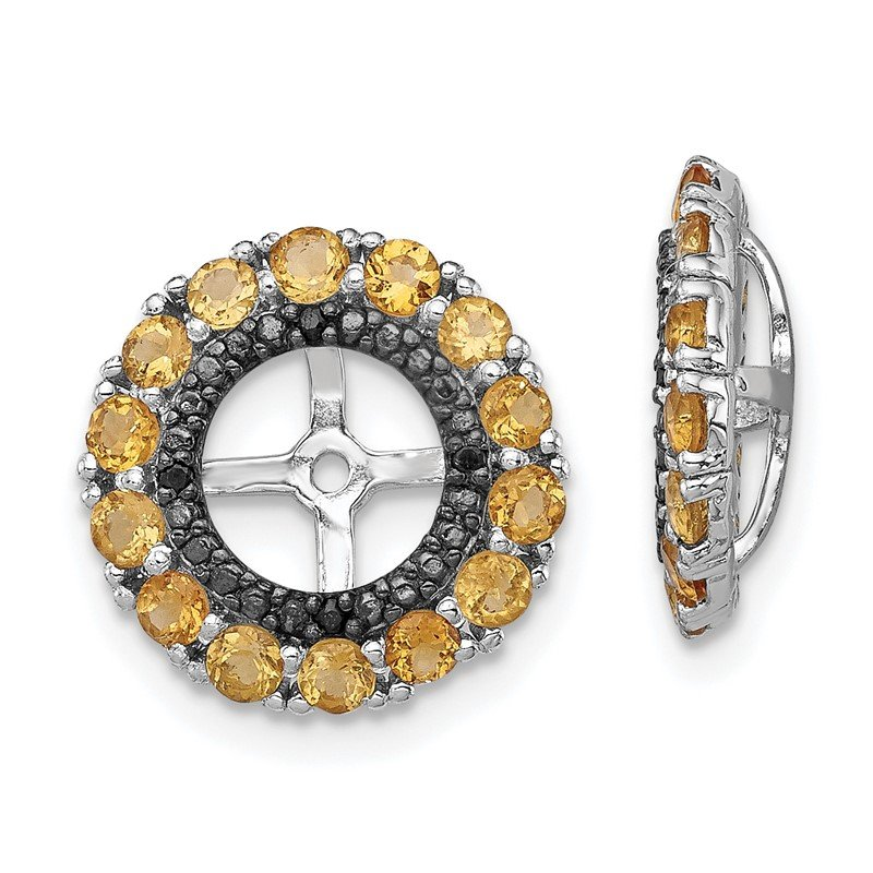 Quality Gold Sterling Silver Rhodium Citrine & Black Sapphire Earring Jacket