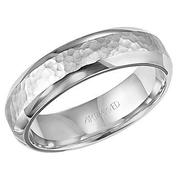14k White Gold Hammered Comfort Fit Wedding Band