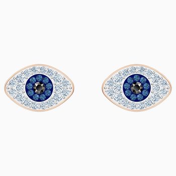 Swarovski Symbolic Stud Pierced Earrings, Blue, Rose-gold tone plated
