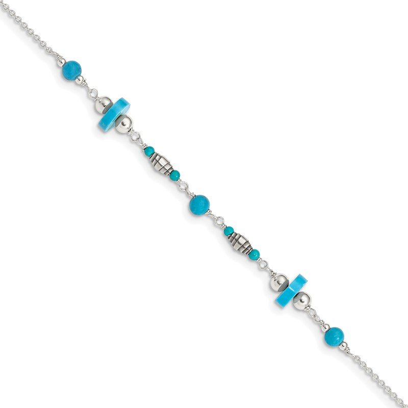 Quality Gold Sterling Silver Antiqued Turquoise Beaded Anklet
