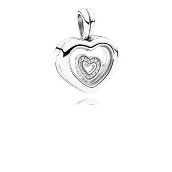 Pandora Floating Heart Locket, Sapphire Crystal Glass Clear Cz