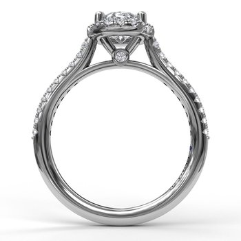 Delicate Oval Shaped Halo And Pave Band Engagement Ring