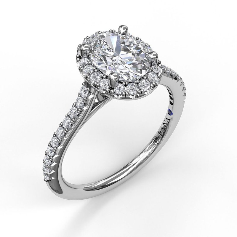 Fana Delicate Oval Shaped Halo And Pave Band Engagement Ring