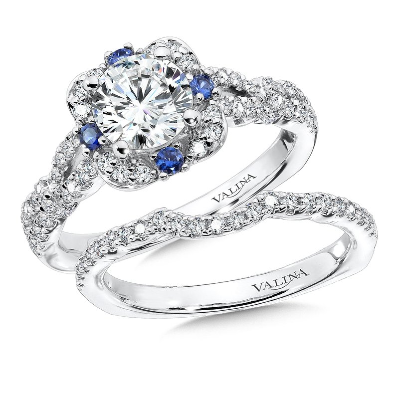 Valina Diamond and Blue Sapphire Halo Engagement Ring Mounting in 14K White Gold (.40 ct. tw.)