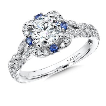 Diamond and Blue Sapphire Halo Engagement Ring Mounting in 14K White Gold (.40 ct. tw.)