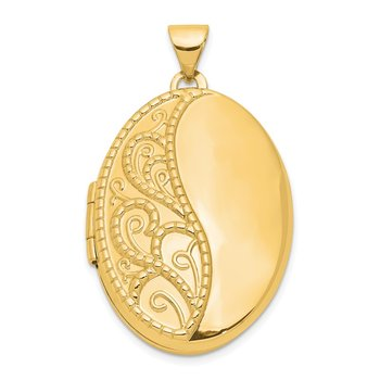 14ky 26mm Oval 1/2 Hand Engraved Locket
