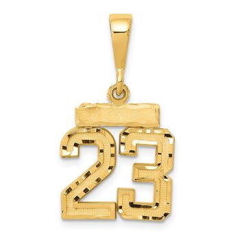 14k Small Diamond-cut Number 23 Charm
