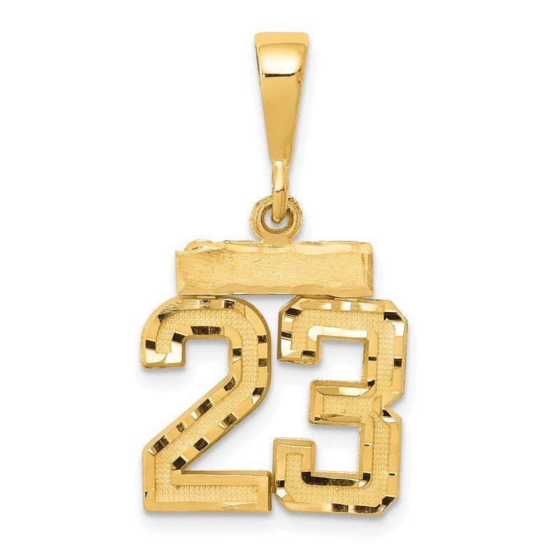 Quality Gold 14k Small Diamond-cut Number 23 Charm