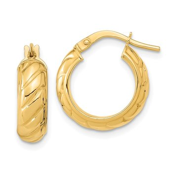 14k Polished Fancy Hoops