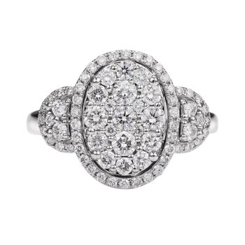 14K cluster ring featuring  around 1.10ct in diamonds