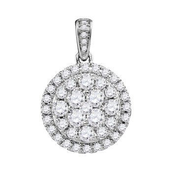 14kt White Gold Womens Round Diamond Cluster Pendant 1.00 Cttw