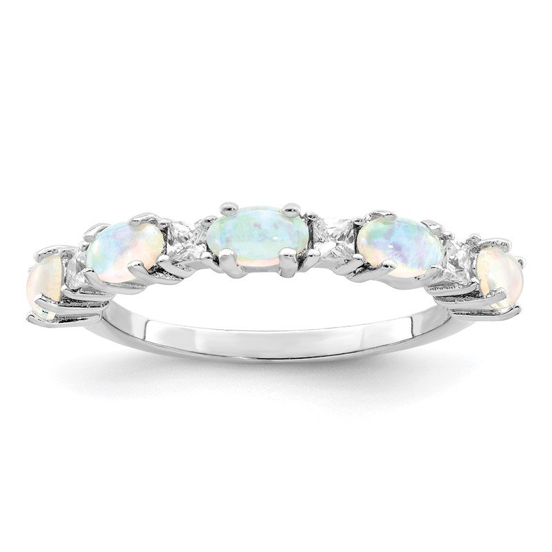 Quality Gold Sterling Silver Lab Created Opal & CZ Ring